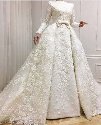 Fashion white wedding dresses with long sleeves a line bridal gowns lace cheap online_2