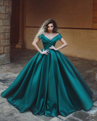 Beautiful dark green evening dresses long cheap prom dresses online_1