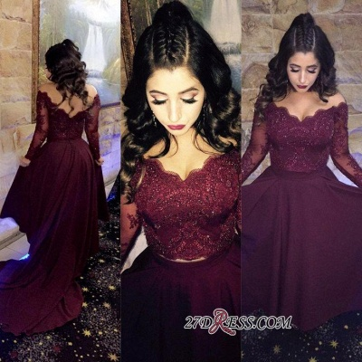Wine Red Long Sleeves Cocktail Dresses Short With Lace A-Line Chiffon Prom Dresses_1
