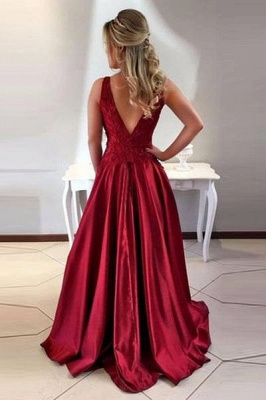 Wine Red Evening Dresses Long Cheap With Lace A Line Satin Prom Dresses Online_2