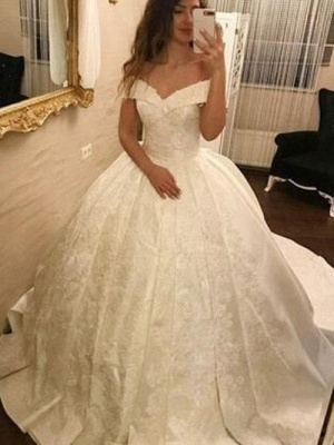 Elegant wedding dresses princess | Satin Wedding Dresses Cheap Simple_1