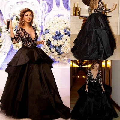 Black Evening Dresses Prom Dresses With Lace Sleeves Organza Paryt Dresses_3