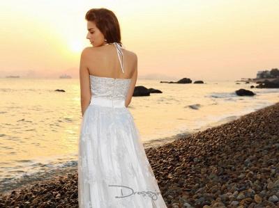schlicht Weiße Hochzeitskleider Spitze Etuikleider Bodenlang Brautkleider Online_5