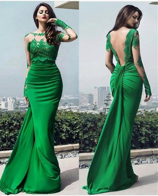 Fashion green evening dresses long cheap lace prom dresses with sleeves_2
