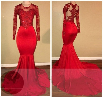 Elegant Evening Dress Red Long Cheap Lace Mermaid Prom Dresses With Sleeves_2