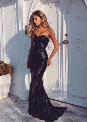 Black Evening Dresses Sequins Mermaid Floor Length Prom Dresses Party Dresses_1