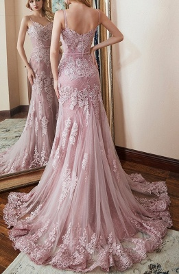 Pink Evening Dresses Long Lace | Evening wear cheap online_2
