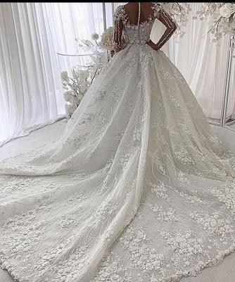 Luxus Hochzeitskleider mit Spitze | Brautkleider Prinzessin mit Ärmel_2