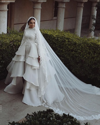 Luxury Wedding Dresses With Sleeves Lace A Line Bridal Online_3