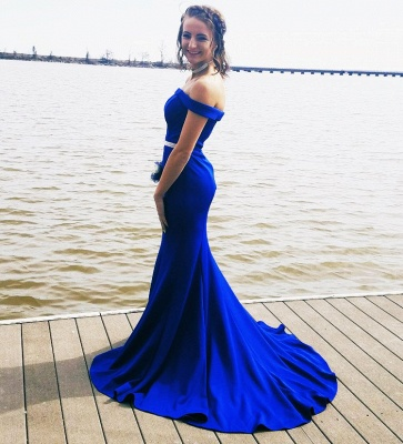 Simple evening dress king blue | Prom dresses long cheap_2