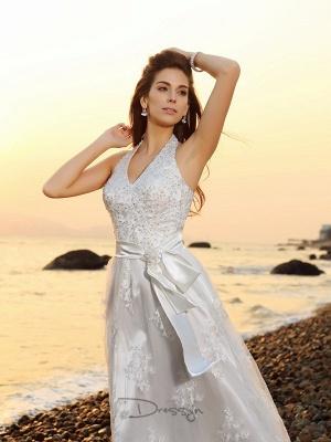 schlicht Weiße Hochzeitskleider Spitze Etuikleider Bodenlang Brautkleider Online_4