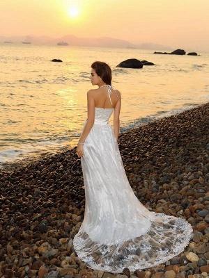 schlicht Weiße Hochzeitskleider Spitze Etuikleider Bodenlang Brautkleider Online_3