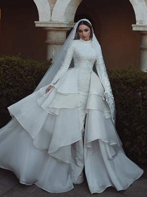 Luxury Wedding Dresses With Sleeves Lace A Line Bridal Online_1
