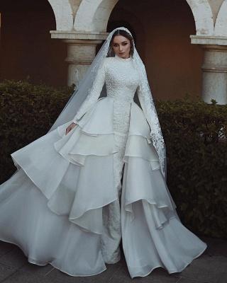 Luxus Hochzeitskleider Mit Ärmel Spitze A Linie Brautmoden Online_2