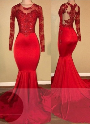Elegant Evening Dress Red Long Cheap Lace Mermaid Prom Dresses With Sleeves_1