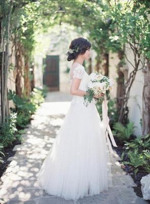 Weiß Brautkleider Mit Ärmel Tüll Etuikleider Hochzeitskleider_2