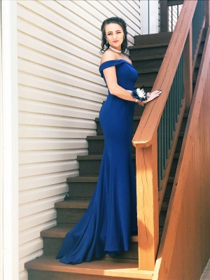 Simple evening dress king blue | Prom dresses long cheap_1