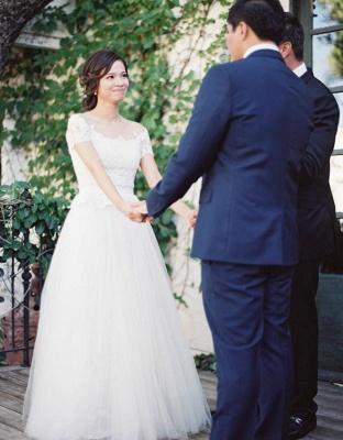 Weiß Brautkleider Mit Ärmel Tüll Etuikleider Hochzeitskleider_4