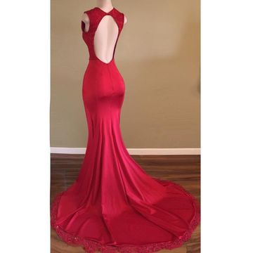 Red Evening Dresses Long With Lace Mermaid Evening Wear Prom Dresses Online_2