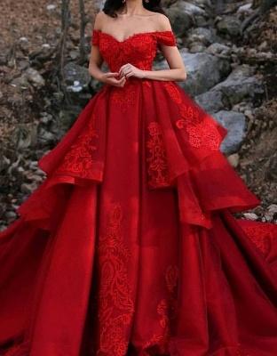 Luxus Hochzeitskleider Rot A Linie Spitze Brautkleider Günstig Online_1