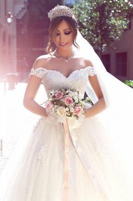 Romantisch Weiß Brautkleider Mit Spitze Schulterfrei Prinzessin Tüll Brautmoden Hochzeitskleider_3