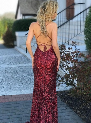 Elegant evening dresses wine red | Long prom dresses with glitter_2