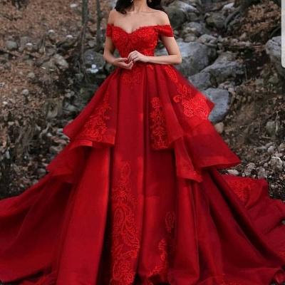 Luxus Hochzeitskleider Rot A Linie Spitze Brautkleider Günstig Online_2