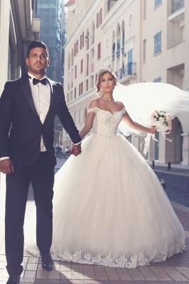 Romantisch Weiß Brautkleider Mit Spitze Schulterfrei Prinzessin Tüll Brautmoden Hochzeitskleider_2