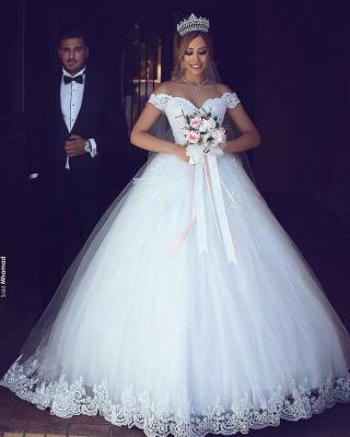 Romantisch Weiß Brautkleider Mit Spitze Schulterfrei Prinzessin Tüll Brautmoden Hochzeitskleider_1