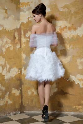 Schlichte Brautkleider Kurz Weiß Tüll Knielang Hochzeitskleider Brautmoden Günstig_4
