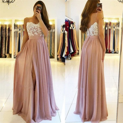 Elegant Chiffon Dresses Evening Dresses Long Cheap Lace Evening Wear_3