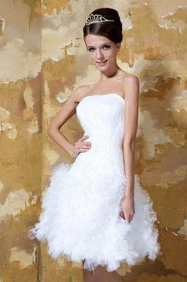 Schlichte Brautkleider Kurz Weiß Tüll Knielang Hochzeitskleider Brautmoden Günstig_2
