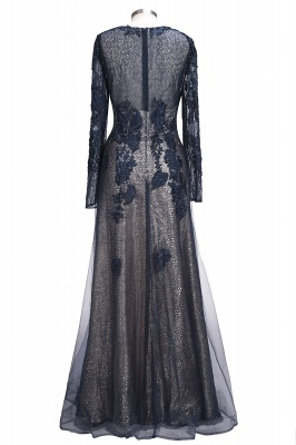 Designer blue evening dresses long with lace sheath dress prom dresses with sleeves_2