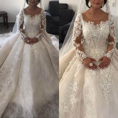 Modern Brautkleider mit Ärmel | Spitze Hochzeitskleider Prinzessin_3