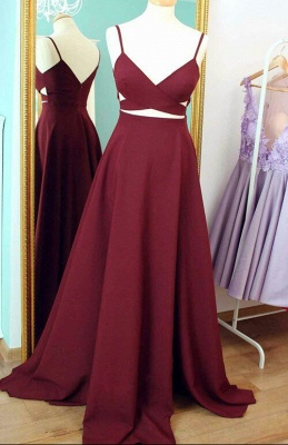 Wine Red Prom Dresses Long 2 Dividers A Line Satin Evening Wear Prom Dresses_1