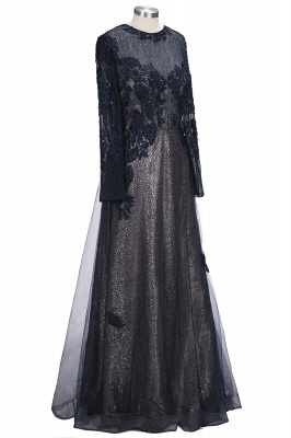 Designer blue evening dresses long with lace sheath dress prom dresses with sleeves_3