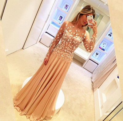 Champagne Prom Dresses Long Sleeves With Lace Tulle Evening Dresses_2