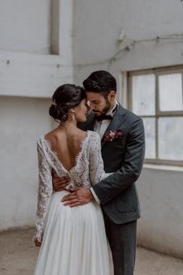 Brautkleider Spitzeärmel A linie | Hochzeitsmoden 2 Teille Online_3