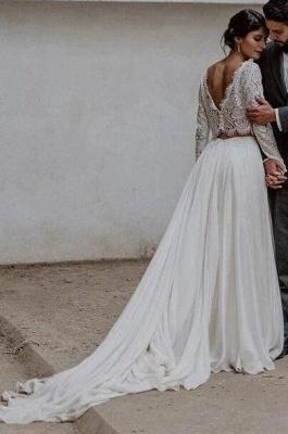 Brautkleider Spitzeärmel A linie | Hochzeitsmoden 2 Teille Online_2