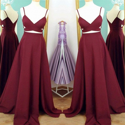 Wine Red Prom Dresses Long 2 Dividers A Line Satin Evening Wear Prom Dresses_2