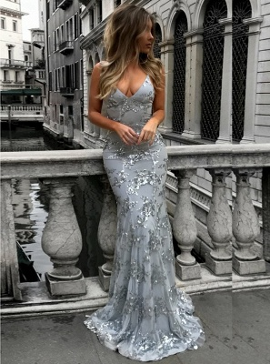 Silver Evening Dresses Long Glitter | Prom dresses lace cheap online_2