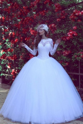White Wedding Dresses Lace With Sleeves Princess Wedding Dresses Wedding Fashions_1