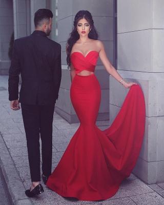 Rotes Abendkleid Abendmoden Lang Günstig Herz Meerjungfrau Satin Partykleider_1