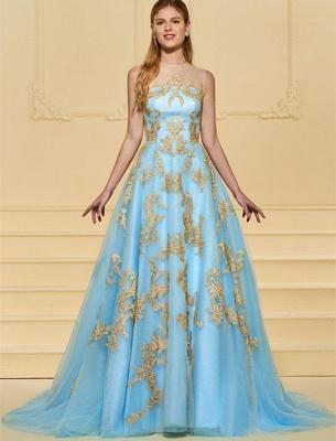 Elegant Floor Length Evening Dresses Blue With Lace A Line Evening Wear Online_1