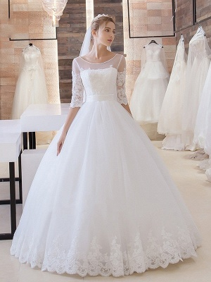 White Wedding Dresses With Sleeves Lace A line Bridal Bridal Gowns_1