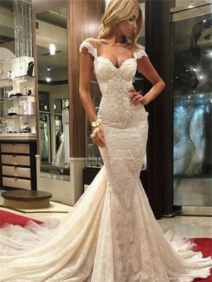 Modern Ivory Wedding Dresses Lace Mermaid Wedding Gowns Online_1
