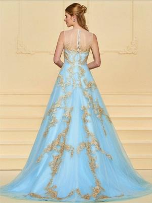 Elegant Floor Length Evening Dresses Blue With Lace A Line Evening Wear Online_2