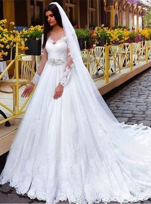 A Linie Weiß Brautkleider Lang Ärmel Spitze Brautmoden Hochzeitskleider_1