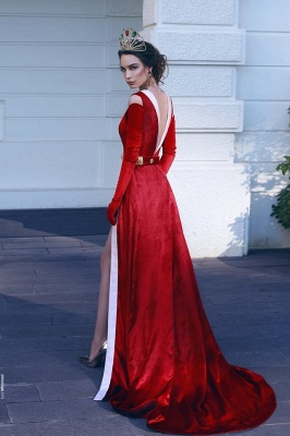 Elegant Rote Lange Abendkleider Velvet V Ausschnitt Meerjungfrau Abiballkleider Online Kaufen_2
