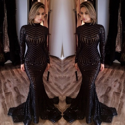 Black Evening Dresses Long Sleeves Sequins Mermaid Prom Dresses Party Dresses_2